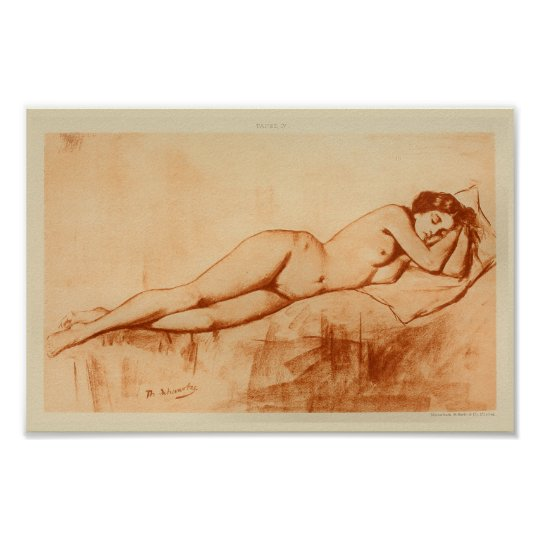 1901 Artistic Anatomy Female Pose Art Print