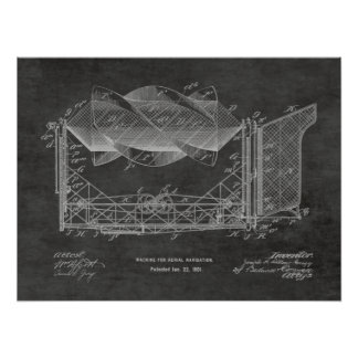 1901 Flying Machine Airplane Patent Drawing Print