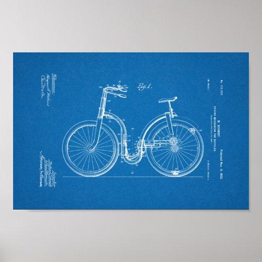 1902 Vintage Bicycle Patent Blueprint Art Print