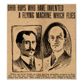 1903 Wright Brothers replica newspaper poster
