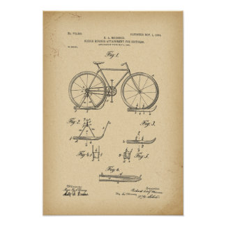 1904 Patent Sleigh runner attachment for bicycles Poster