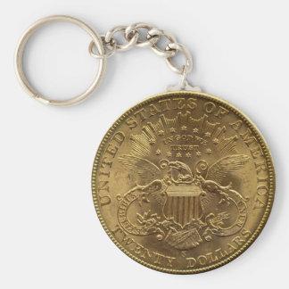 1904 Twenty Dollar Coin, back (tails) or $20 Basic Round Button Keychain