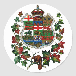 1905 Canadian Coat of Arms Classic Round Sticker