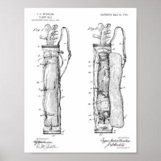 1905 Golf Club Caddy Bag Design Patent Art Print