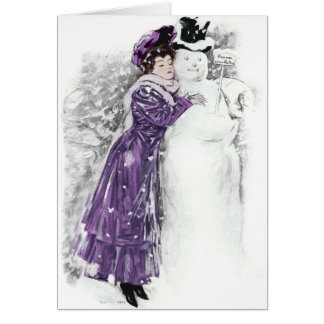 """1905!!! """"HUGS MAY CAUSE MELTING"""" FROSTY SNOWMAN GREETING CARD"""