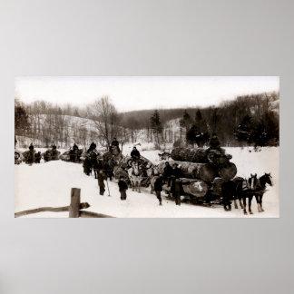 1905 Lumberjacks at work Poster