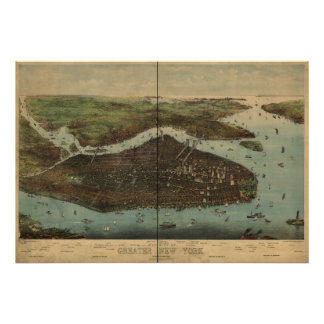 1905 New York City NY Birds Eye View Panoramic Map Poster