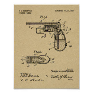 1906 Water Gun Patent Art Drawing Print