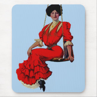 1907 pretty lady on a swing mouse pad