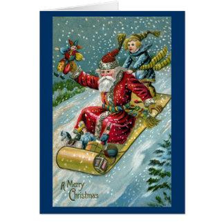 1907 Santa Claus on Toboggan Card