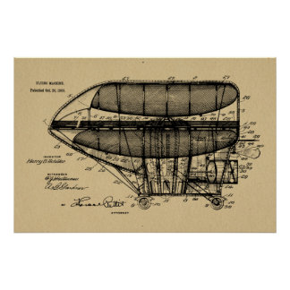 1908 Airship Patent Drawing Art Print