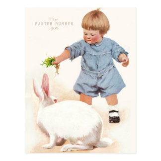 "1908! ""EASTER NUMBER"" YUMMY SPRING GRASS BUNNY POSTCARD"