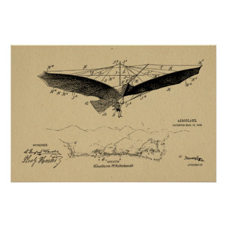1908 Flying Wing Patent Drawing Art Print