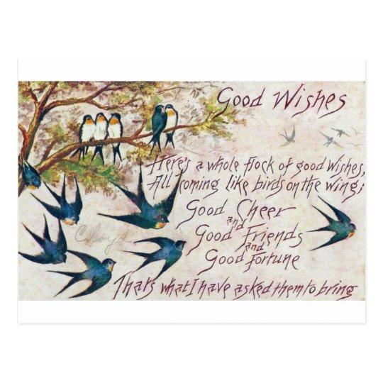 1908 Good Wishes Blue Birds Postcard