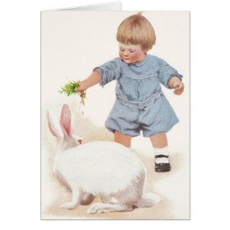 """1908! """"SPRINGTIME YUMMIES"""" BABY FEEDS BUNNY CARD"""
