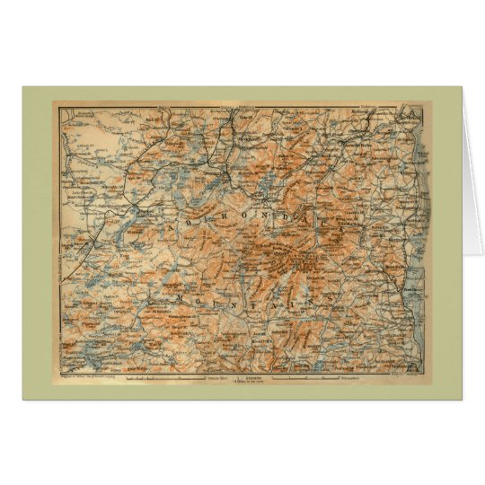 1909 Adirondacks Map from Baedeker's Travel Guide Card