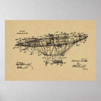 1909 Airship Aeroship Patent Drawing Art Print