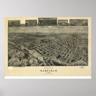 1909 Garfield, NJ Birds Eye View Panoramic Map Poster