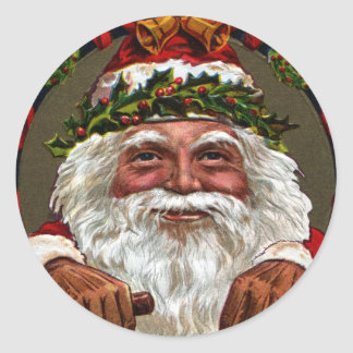 1909 Santa Claus Dangling Gifts Classic Round Sticker