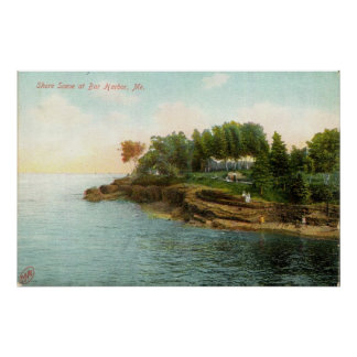 1909 Shore Scene at Bar Harbor, Maine Poster