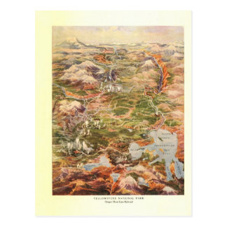 1910 Aerial View Map - Yellowstone National Park Postcard