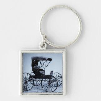 1910 Auto Seat Buggy Cyan Tone Keychain