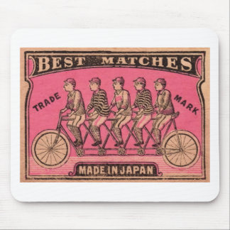 1910 Japanese Tandem Bicycle Matchbox Label Mouse Pad