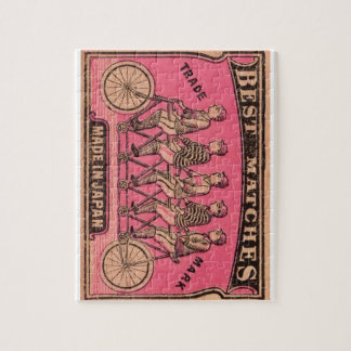 1910 Japanese Tandem Bicycle Matchbox Label Puzzle