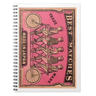 1910 Japanese Tandem Bicycle Matchbox Label Spiral Notebook