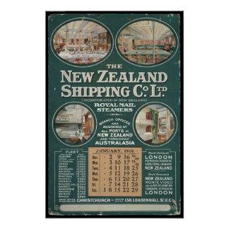1910 New Zealand Shipping Company Poster