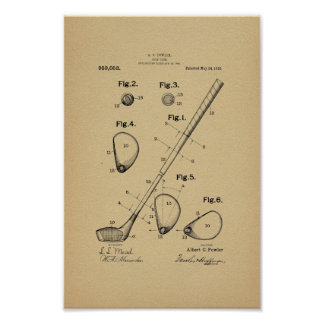 1910 Vintage Golf Club Patent Art Print