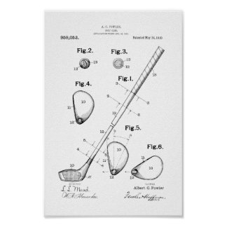 1910 Vintage Golf Club Patent Art Print