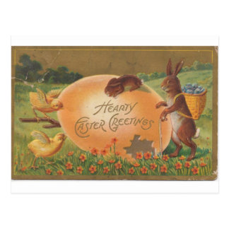 1910 Vintage Hearty Easter Greeting Postcard