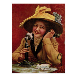 1910s Sweetheart on a Candlestick Phone Postcard