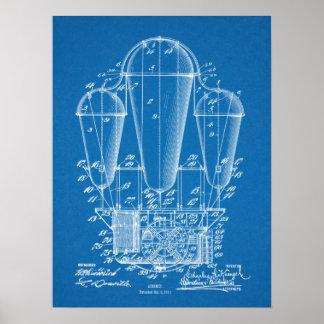 1911 Airship Balloon Patent Art Drawing Print