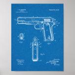 1911 Colt Browning Gun Patent Art Drawing Print