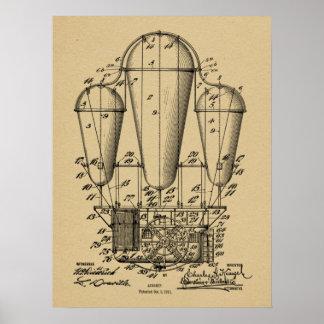 1911 Old Airship Balloon Patent Art Drawing Print