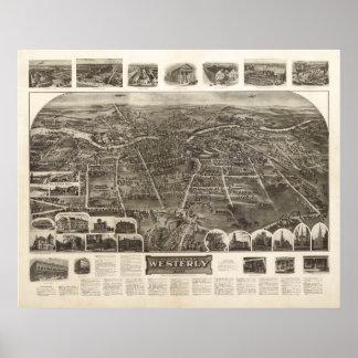 1911 Westerly, RI Birds Eye View Panoramic Map Poster