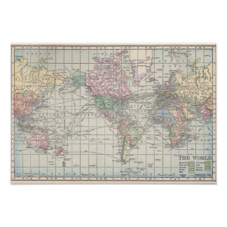 1911 World Map Poster