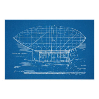 1912 Boat Airship Airplane Patent Drawing Print