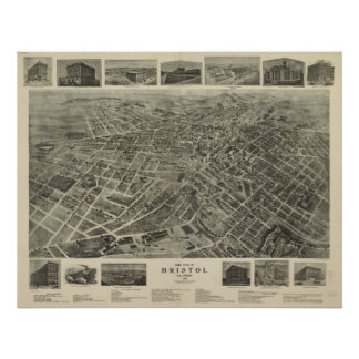 1912 Bristol, VA TN Bird's Eye View Panoramic Map Poster
