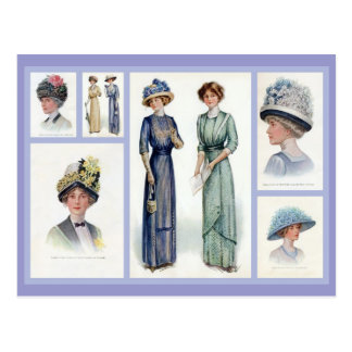 1912 Edwardian Fashion Collage Postcard