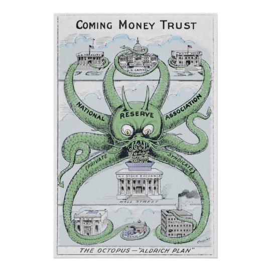 1912 Federal Reserve COLORIZED Political Cartoon Poster