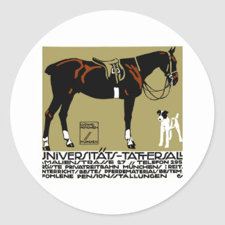 1912 Ludwig Hohlwein Horse Riding Poster Art Classic Round Sticker