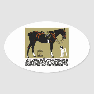 1912 Ludwig Hohlwein Horse Riding Poster Art Oval Sticker