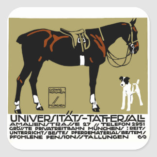1912 Ludwig Hohlwein Horse Riding Poster Art Square Sticker