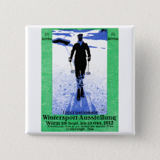 1912 Vienna Winter Sports Poster 2 Inch Square Button