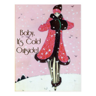 1913 Art Deco Winter Fashion Scene Postcard