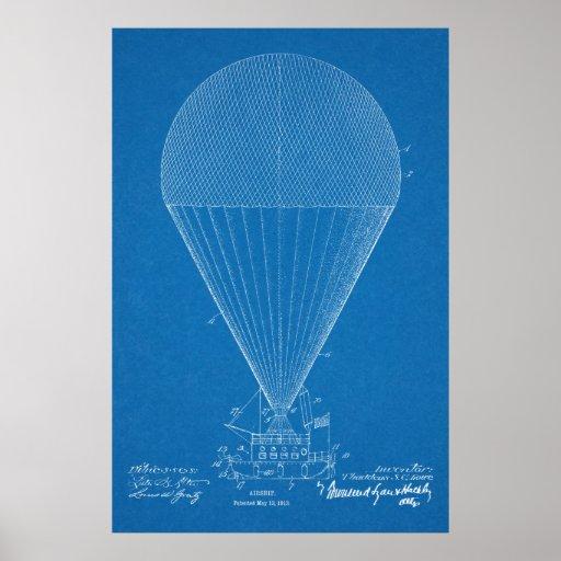 1913 Boat Airship Airplane Patent Art Drawing Poster