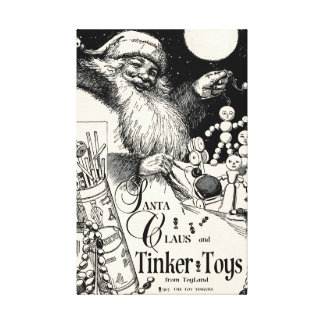 "1913 EXCLUSIVE!!! SANTA TINKER TOY"" CHRISTMAS AD CANVAS PRINT"
